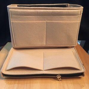 Handbags - Purse Tote L Insert + Zip Case Protector Organizer
